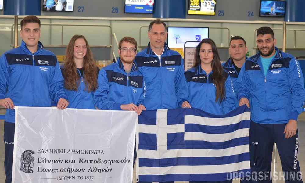 """Η αποστολή των Ελλήνων στο αεροδρόμιο """"Ελ. Βενιζέλος"""" λίγο πριν την αναχώρηση για Αγγλία. Α-Δ: Γιώργος Γάγκος, Ελευθερία Κασαγιάννη, Εφραίμ Χαλκιάς, Στάθης Αβραμίδης, Καλυψώ Οικονομίδου, Μιχαήλ Σουσούνης, Φλουρής Χατζηγεωργίου. Αυτή η ομάδα τα είχε όλα."""